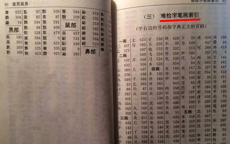 查字典:数笔画查字法